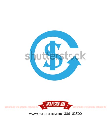 dollar arrow icon - stock vector