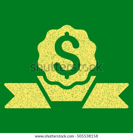 Dollar Award grainy textured icon for overlay watermark stamps. Flat symbol with unclean texture. Dotted vector yellow ink rubber seal stamp with grunge design on a green background.