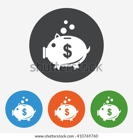 Dollar banking icon sign. Dollar banking icon flat design. Dollar banking icon for app. Dollar banking icon for logo. Dollar banking icon picture. Circle buttons with flat icon. Vector - stock vector