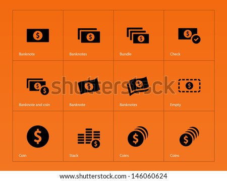 Dollar Banknote icons on orange background. Vector illustration. - stock vector