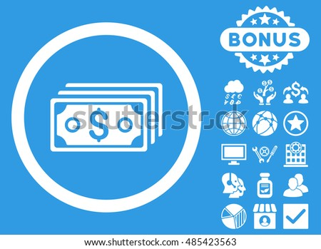 Dollar Banknotes icon with bonus design elements. Vector illustration style is flat iconic symbols, white color, blue background.