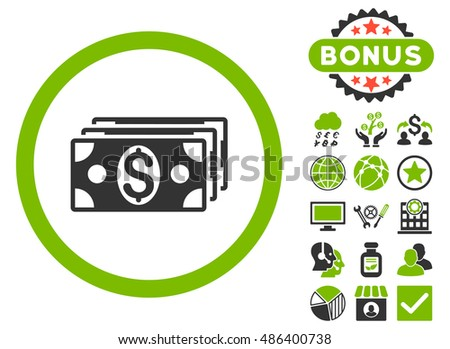 Dollar Banknotes icon with bonus elements. Vector illustration style is flat iconic bicolor symbols, eco green and gray colors, white background.