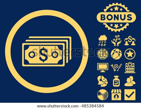 Dollar Banknotes icon with bonus pictogram. Vector illustration style is flat iconic symbols, yellow color, blue background.
