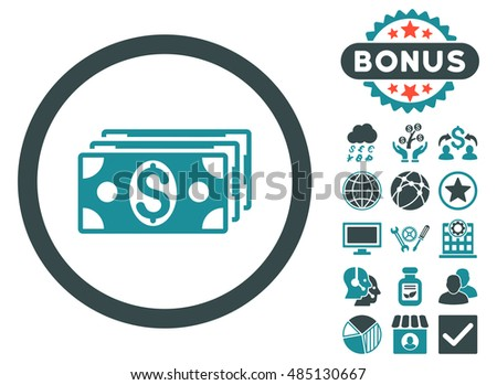 Dollar Banknotes icon with bonus pictures. Vector illustration style is flat iconic bicolor symbols, soft blue colors, white background.
