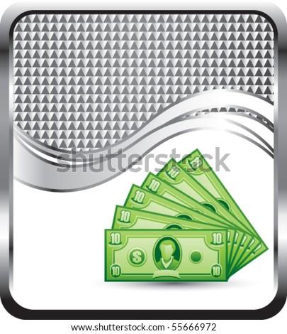 dollar bills silver checkered wave - stock vector