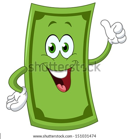 Dollar cartoon showing thumb up - stock vector