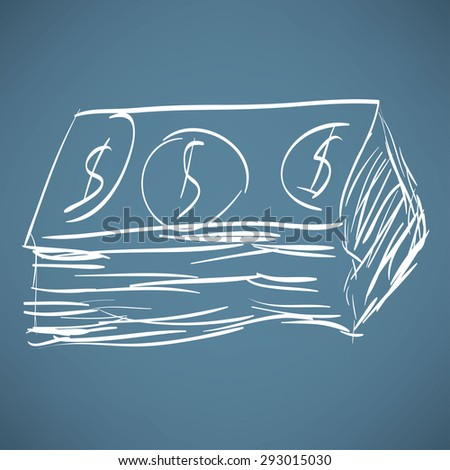 Dollar cash money icon. Hand drawing cartoon sketch - stock vector