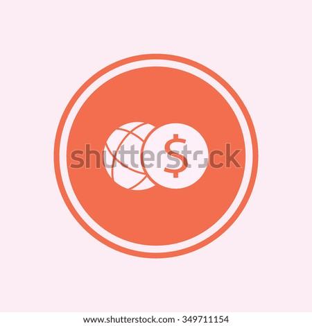 Dollar coin  icon. Flat design style - stock vector