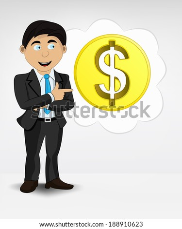 Dollar coin in bubble idea concept of man in suit vector illustration