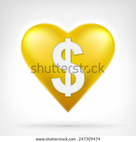 Dollar coin shaped as golden heart at modern graphic design isolated vector illustration on white background  - stock vector