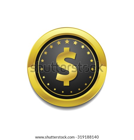 Dollar Currency Sign Circular Gold Vector Web Button Icon