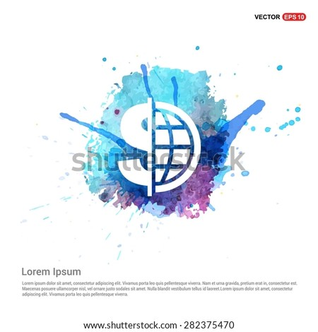 Dollar currency symbol with world globe icon - abstract logo type icon - Blue water color Paint splash beautiful background. Vector illustrationmale user - stock vector