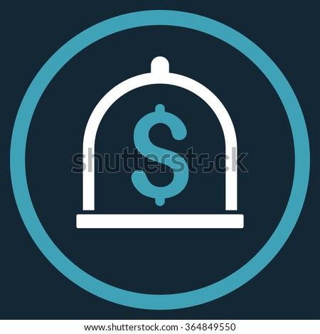 Dollar Deposit vector icon. Style is bicolor flat circled symbol, blue and white colors, rounded angles, dark blue background. - stock vector