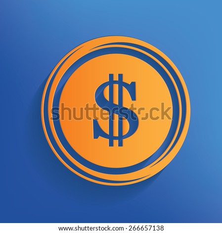 Dollar design on blue background,clean vector - stock vector