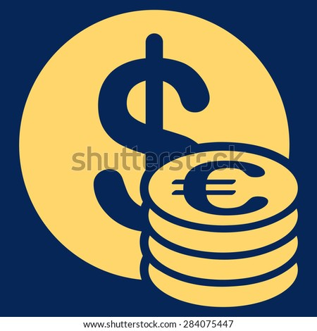 Dollar euro coins from BiColor Euro Banking Icon Set. Vector style: flat, yellow symbol, rounded angles, blue background.
