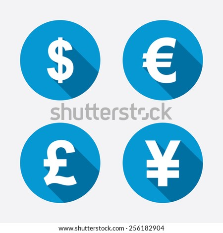Dollar, Euro, Pound and Yen currency icons. USD, EUR, GBP and JPY money sign symbols. Circle concept web buttons. Vector - stock vector