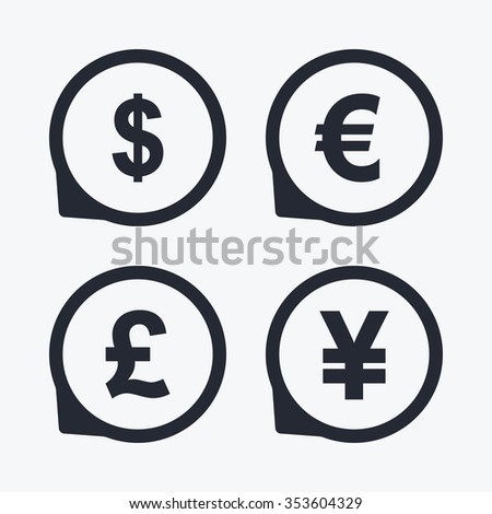 Dollar Euro Pound Yen Currency Icons Stock Vector 353604329