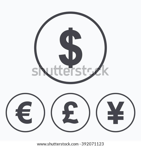 Dollar Euro Pound Yen Currency Icons Stock Vector 2018 392071123