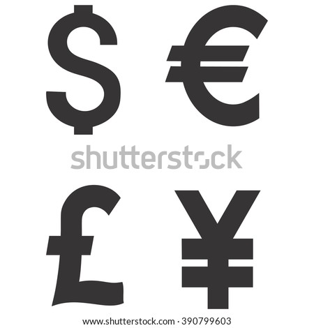 Dollar Euro Pound Yen Currency Icons Stock Vector 390799603