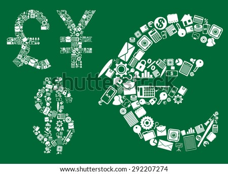 Dollar, euro, pound and yen signs composed with business, financial, banking and corporate icons on green background - stock vector