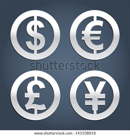 Dollar, Euro, Pound and Yen silver signs vector collection. Set of currency icons. Signs for banking business. - stock vector