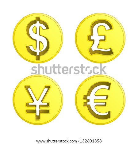 dollar euro yen and pound coin vector pack illustration - stock vector