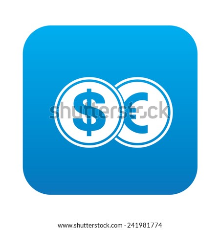 Dollar exchange icon on blue button background,clean vector - stock vector