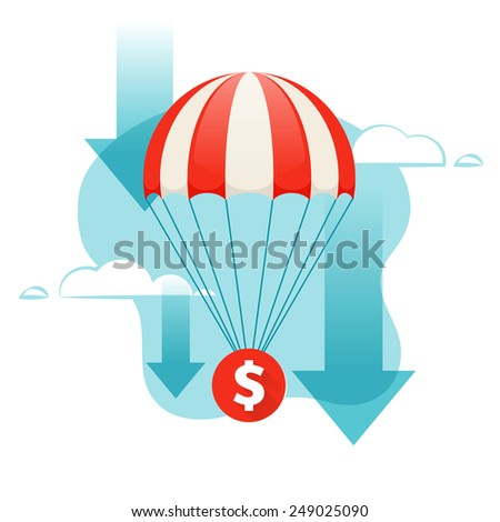 Dollar falling. Coin descends by parachute. Design concept. - stock vector