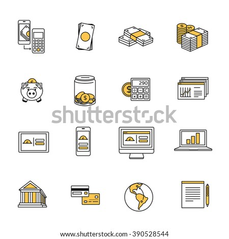 Dollar finance line icons collection. Smart banking, savings, money & mobile payment set. - stock vector