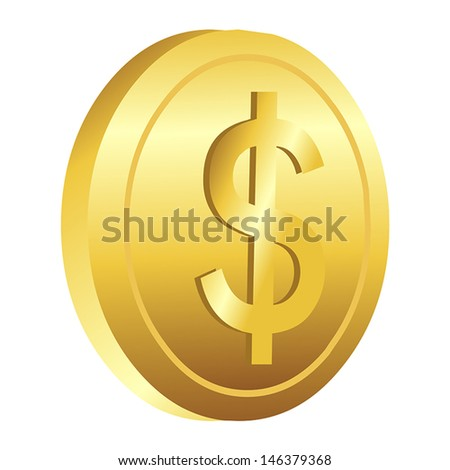 dollar gold coin isolated illustration on white background