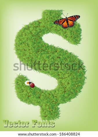 dollar grass sign vector - stock vector