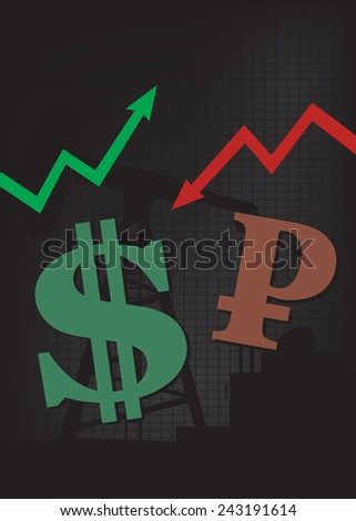 Dollar growth,Ruble decline illustration based on oil price with oil pump and up and down arrows in background  - stock vector