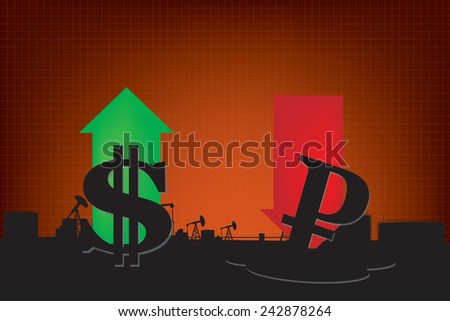 Dollar growth,Ruble decline illustration based on oil price with oil pumps and refinery landscape background - stock vector