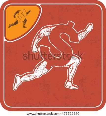 dollar icon like runner on red background vector illustration.