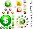 Dollar icon set. Vector great collection. - stock vector