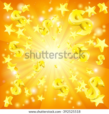 Dollar jackpot money and stars background - stock vector