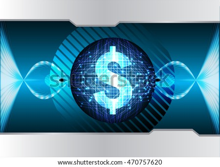 Dollar money business finance, Safety concept, Closed Padlock on digital background, cyber security. key. vector