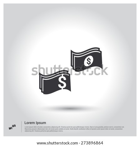 dollar note icon, pictogram icon on gray background. Vector illustration. Flat design style - stock vector