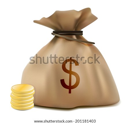 Dollar sack and stacked coins realistic icon