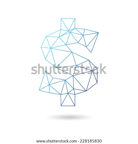Dollar sign abstract isolated on a white backgrounds, vector illustration   - stock vector