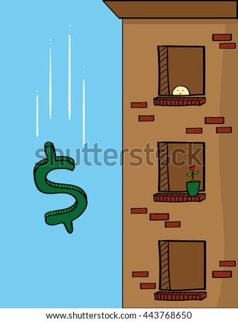Dollar sign falling past the windows of an apartment block as a metaphor for the USA economy - stock vector