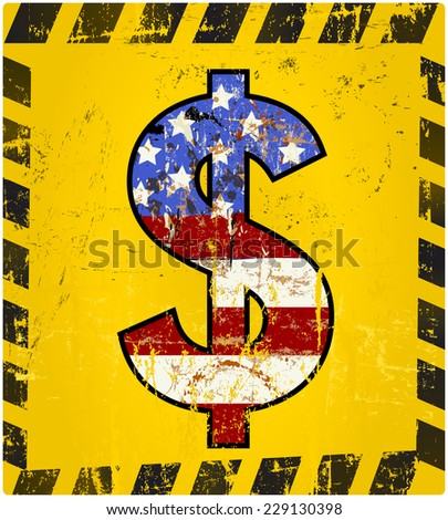 dollar sign, grungy style,vector illustration - stock vector