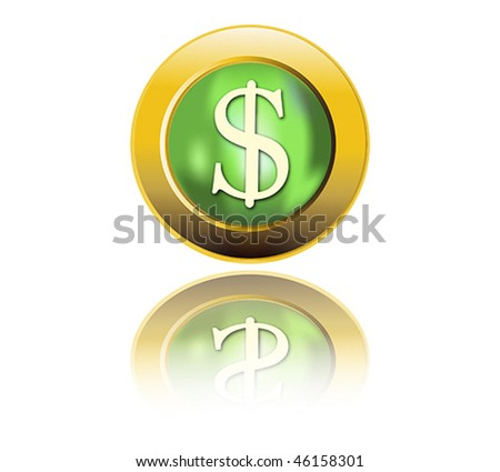 Dollar sign icon button,vector.