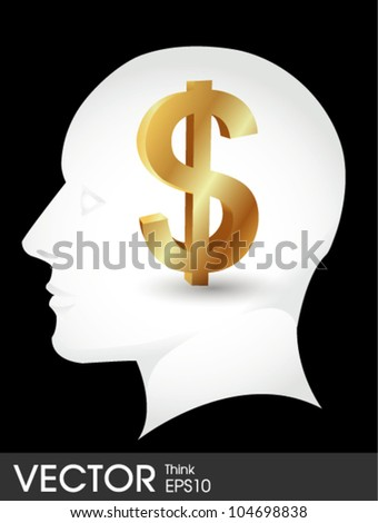 Dollar sign in a head Thinking Money - stock vector