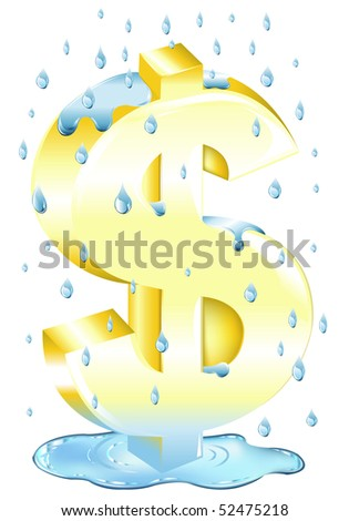 Dollar Sign In The Rain In Water, Isolated On White - stock vector