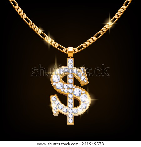 Dollar sign jewelry necklace on golden chain. Hip-hop style. Gold and diamonds. Finance business symbol. - stock vector