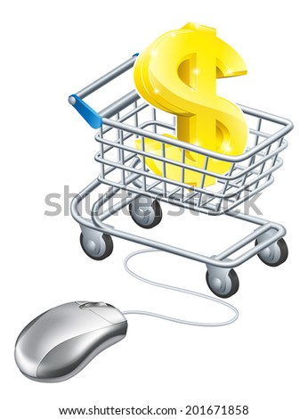 Dollar sign mouse trolley concept of a dollar sign in a shopping cart with a mouse connected to it. Concept for making money online on the internet or controlling your finances