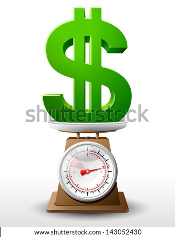 Dollar sign on scale pan. Weighing money symbol on scales. Qualitative vector concept for banking, financial industry, economy, accounting, etc. It has transparent elements, opacity masks, gradients. - stock vector