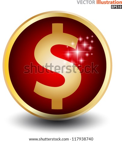 Dollar sign red ball - stock vector