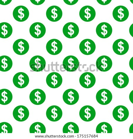 Dollar sign seamless pattern on white background - stock vector